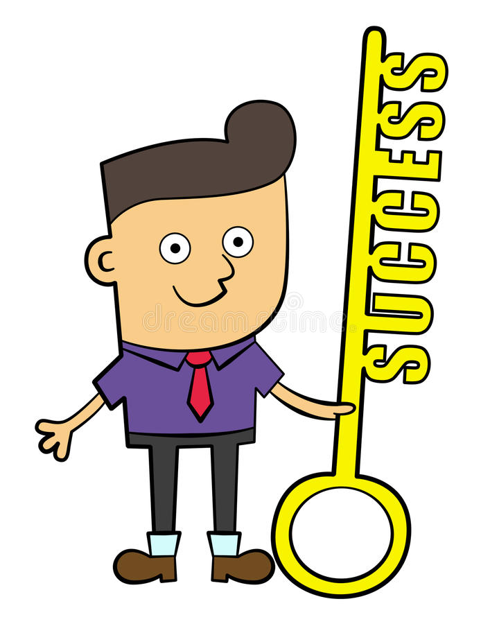 Key of success. An illustration of a cute business man holding a huge key with a word success royalty free illustration