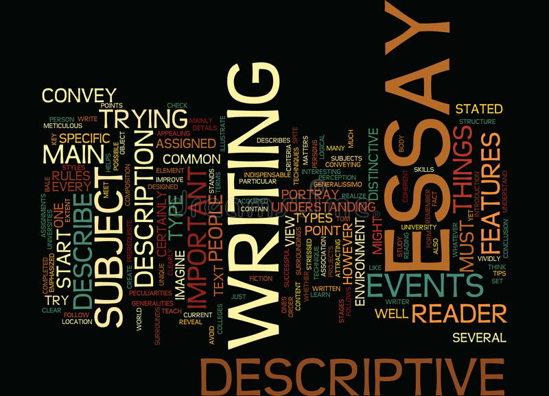 The Key Of Successful Descriptive Essay Text Background Word Cloud Concept stock illustration