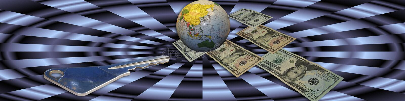 Key to financial success. Banner with the globe as a central point. The money and key are metaphors and leading to the title: Key to financial success vector illustration