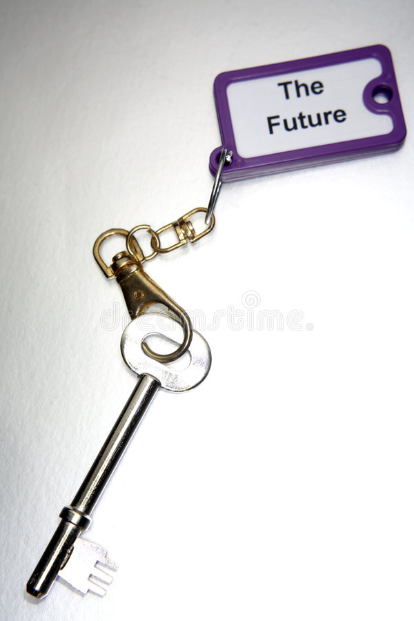 Key to the Future. Long key on keychain with The Future printed on it: Key to the Future royalty free stock photography