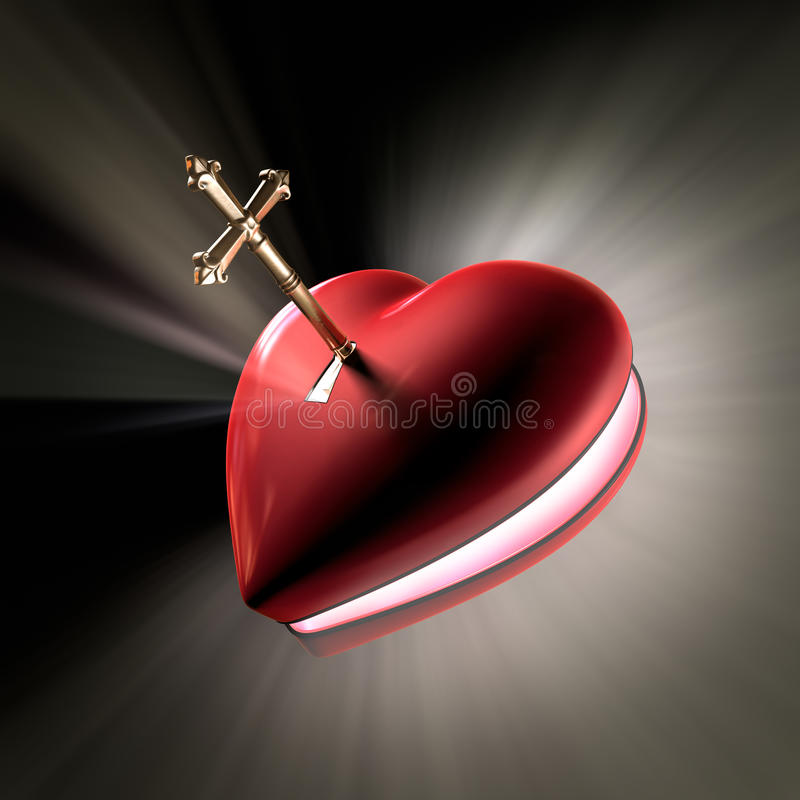Key to the heart. A cross shaped key unlocking a heart shaped box opening witth volume light shooting out stock illustration