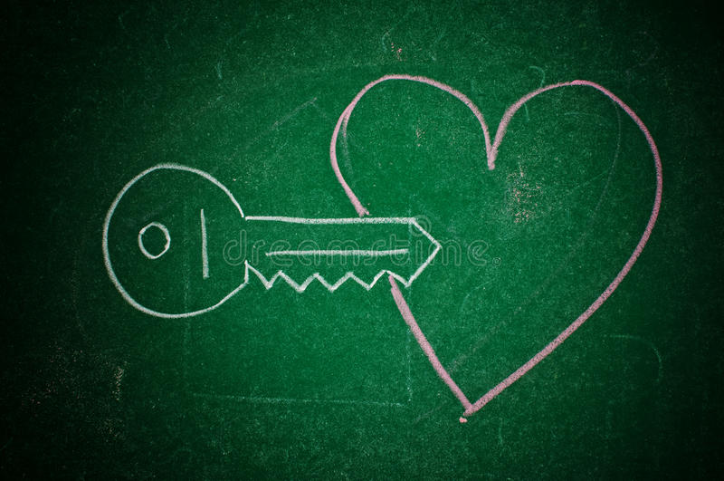 Download Key to the heart stock illustration. Image of chalkboard - 28643127