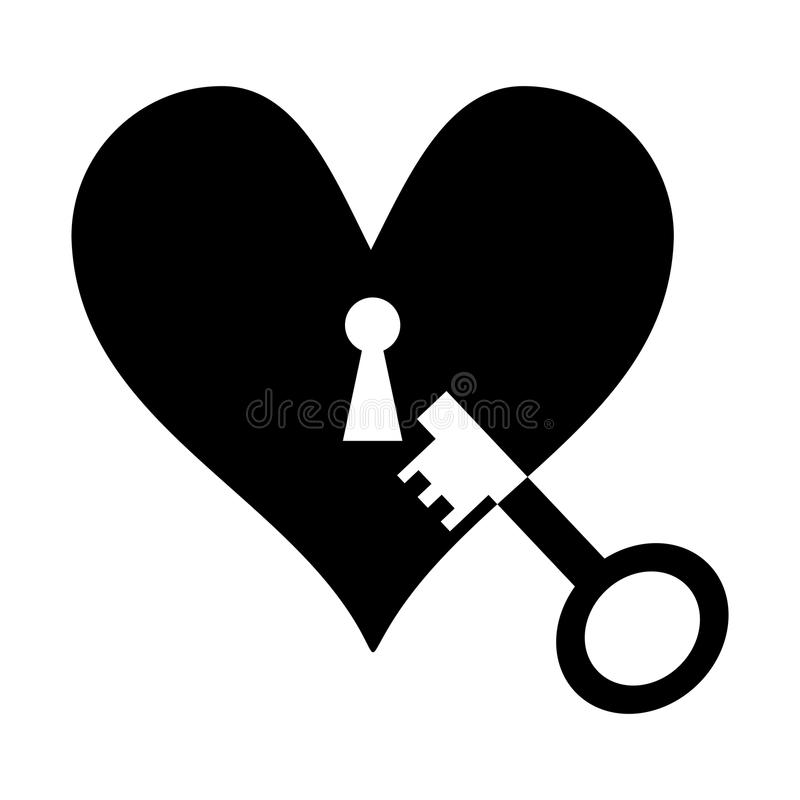 Key to the heart vector illustration