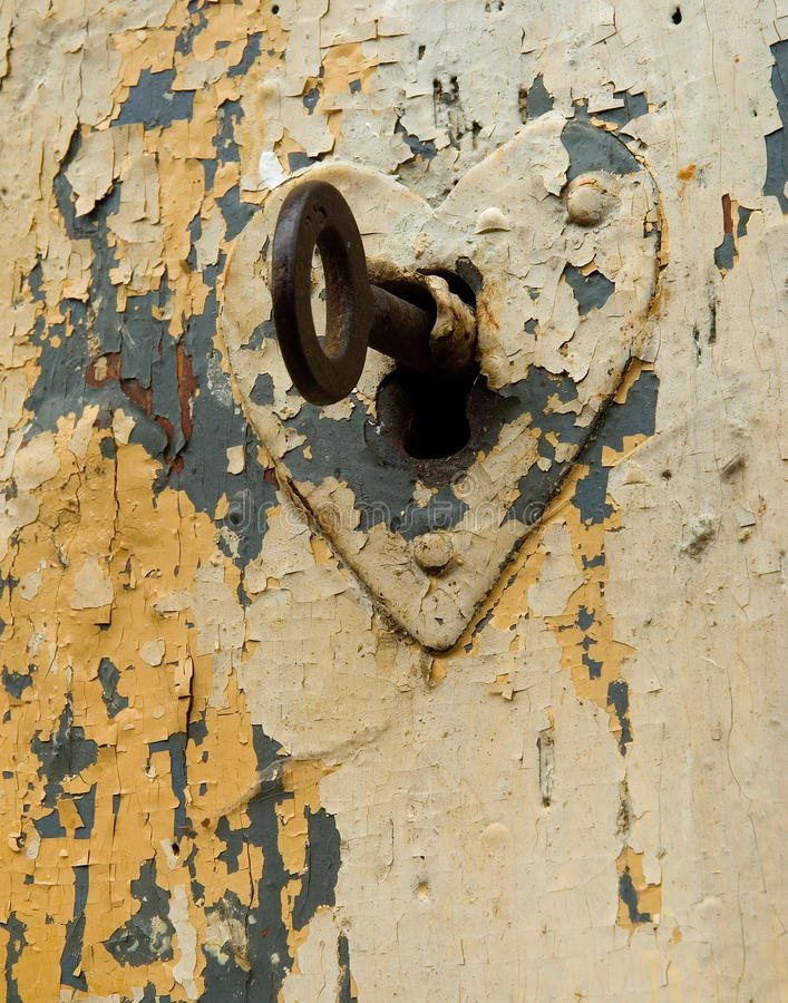 Key to the heart with keyhole royalty free stock photography