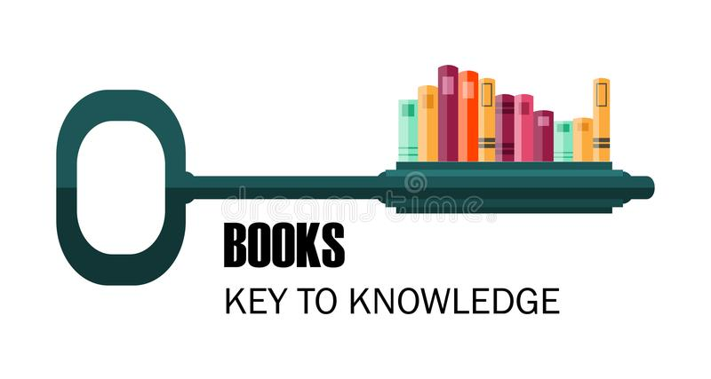 Key to knowledge. logo. key with books. Education vector illustration royalty free illustration