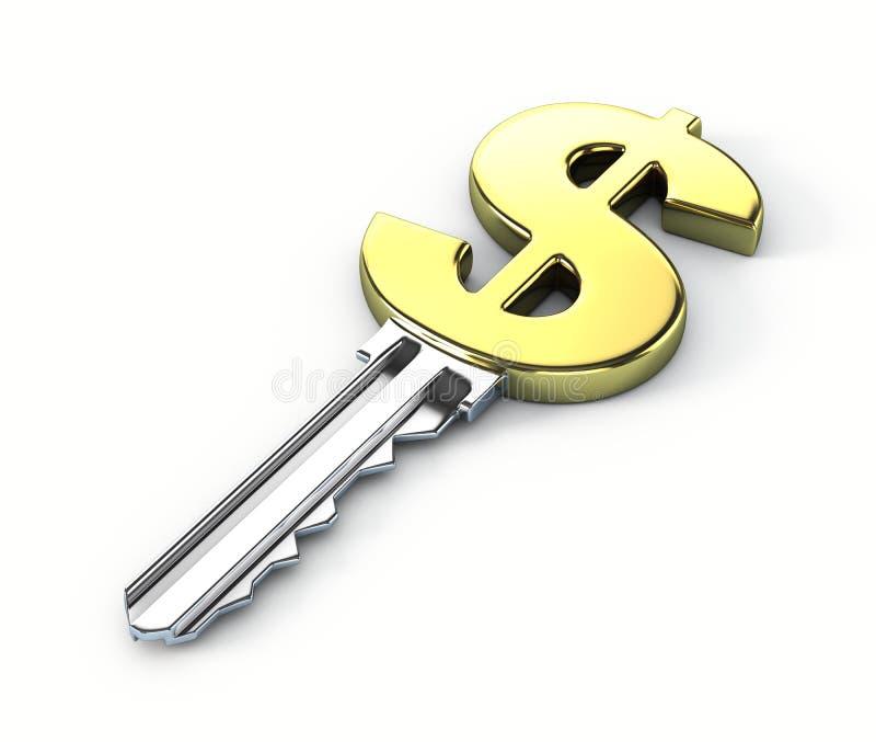 Key to money. On white background vector illustration