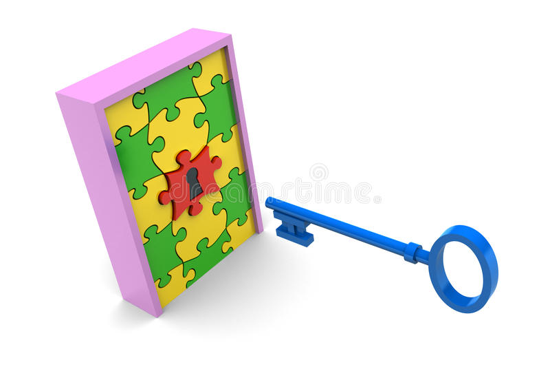 Key to Puzzle Door stock illustration