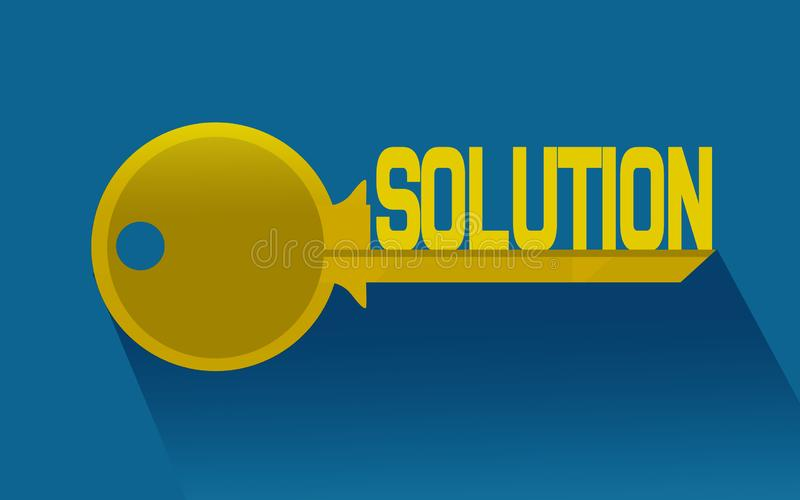 Key to solution with blue background stock illustration
