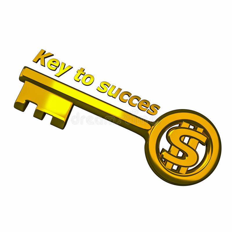 Key to succes. Golden key with text key to succes vector illustration