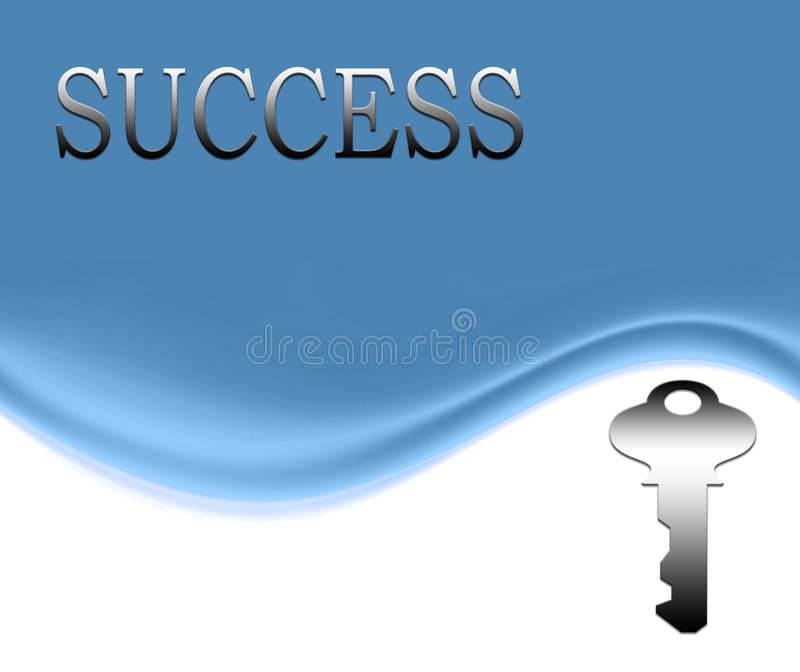 The key to success. The word success and a shiny silver key on a smooth blue and white wave background with copyspace stock illustration