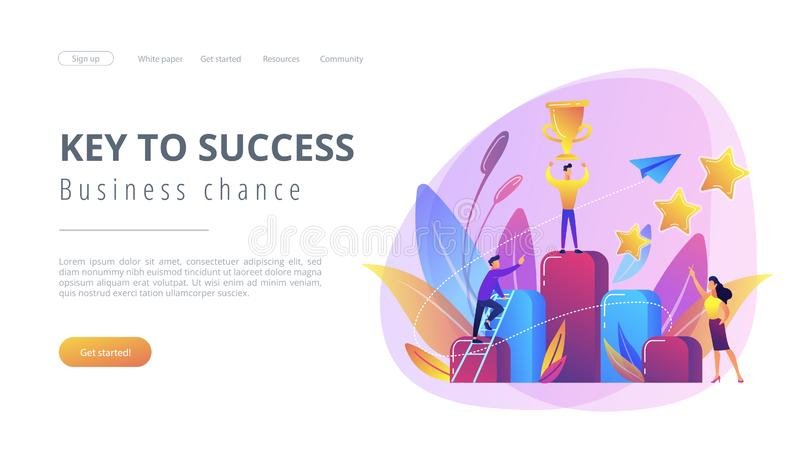 Key to success concept landing page. Businessman holds a cup on top of column graph. Key to success and success story, business chance, on the way to success vector illustration