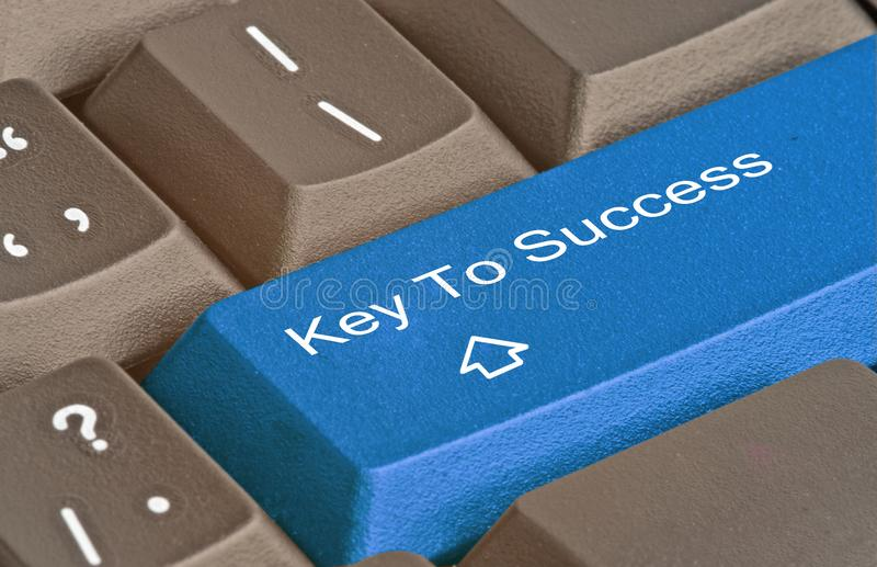 Key to success. Keyboard with key to success stock image