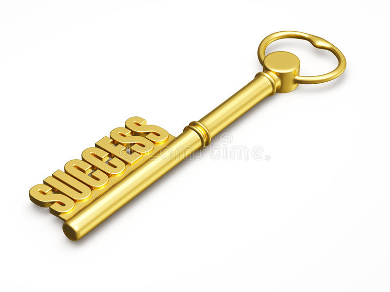 Key to success made of gold isolated. Success wealth prosperity concept - golden key to success made of gold isolated on white background vector illustration