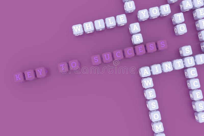 Key To Success, motivation keyword crossword. For web page, graphic design, texture or background. 3D rendering. royalty free illustration
