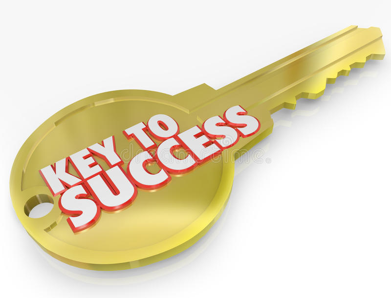 Key to Success Open Successful Career Life. A golden metal key with the words Key to Success symbolizing the secret to a successful career or life royalty free illustration
