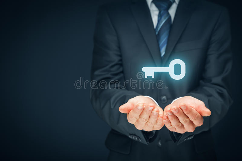 Key to success or solution stock image