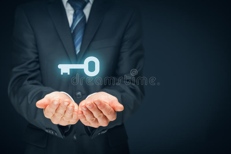 Key to success or solution stock photos