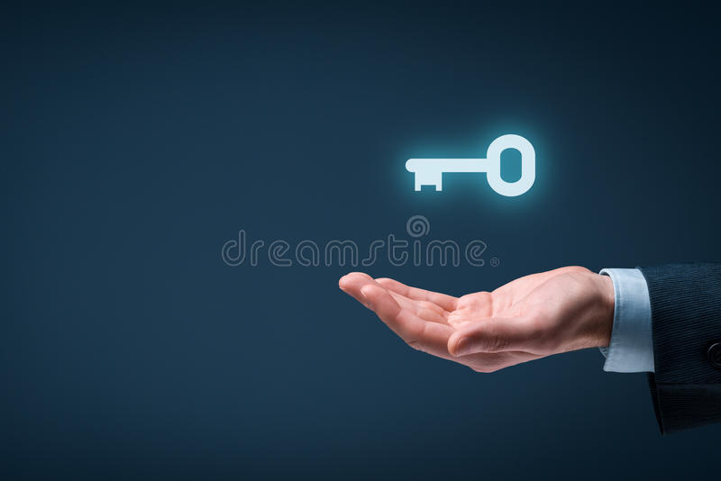 Key to success or solution stock photography
