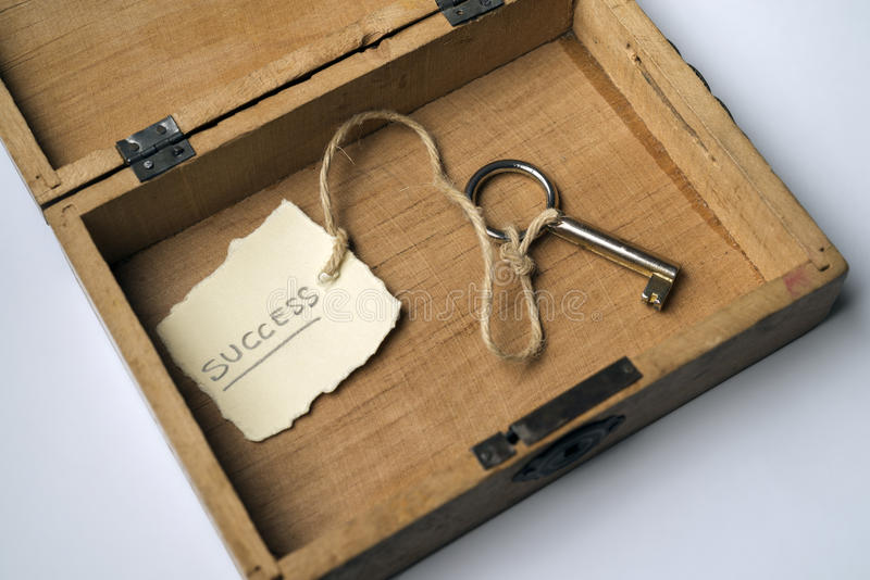 Key to success. Wooden box containing the key to success stock images