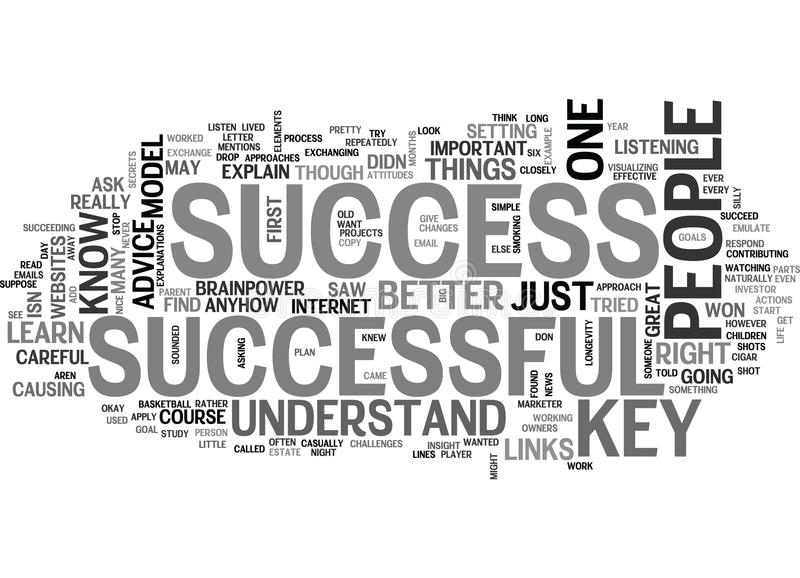 A Key To Success Word Cloud royalty free illustration