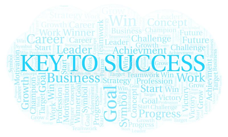 Key To Success word cloud. Wordcloud made with text only stock illustration