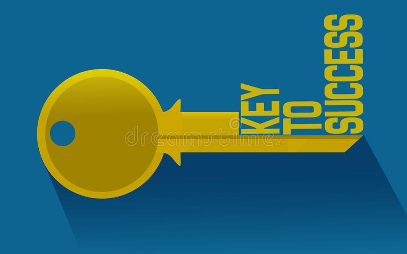 Key to success word on key. 3D rendering vector illustration