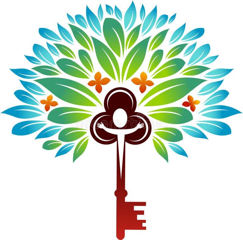 Key tree. Abstract design of key tree on white background stock illustration