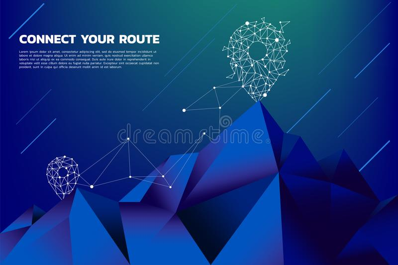 Route to the top of mountain: Concept of Goal, Mission, Vision, Career path, Polygon dot connect line style royalty free illustration