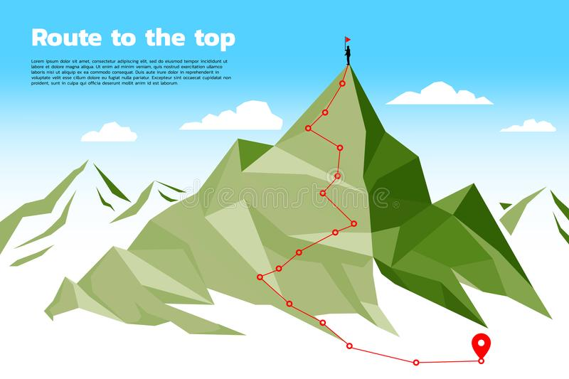 Route to the top of mountain: Concept of Goal, Mission, Vision, Career path, Polygon dot connect line style. Key visual of path for climbing to top of mountain stock illustration