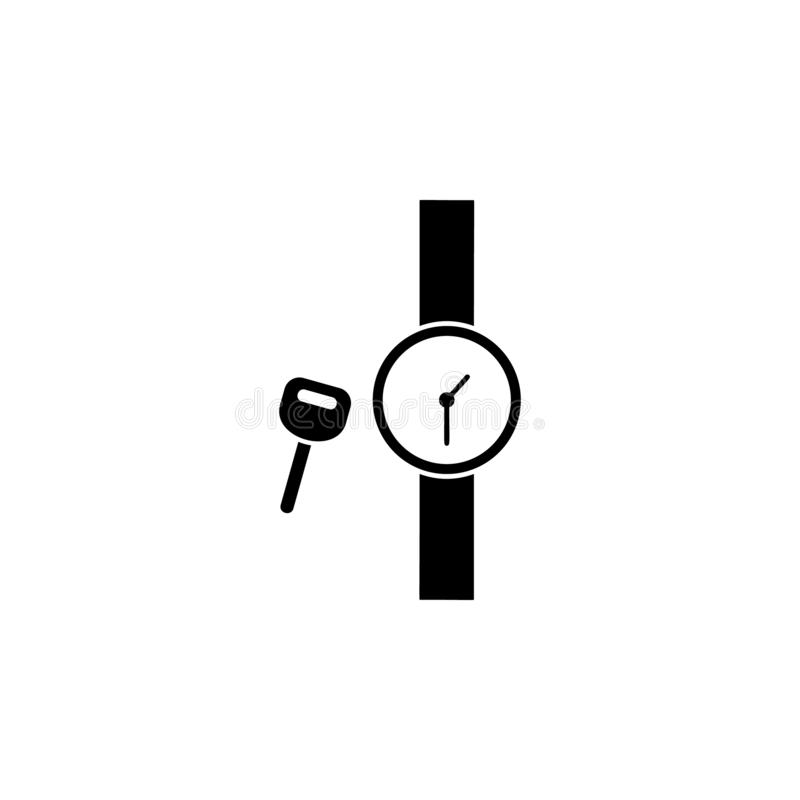 Key watch icon. Simple glyph vector of universal set icons for UI and UX, website or mobile application. On white background royalty free illustration