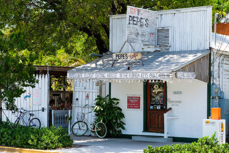 Key West Cityscape. Key West, Florida USA - June 24, 2017: Popular Pepes Cafe in in the historical district is the oldest restaurant in the Florida Keys stock images