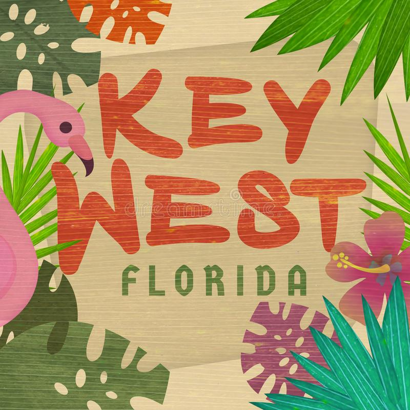 Key West Florida Art Invitation Tropical Sign ilustração royalty free
