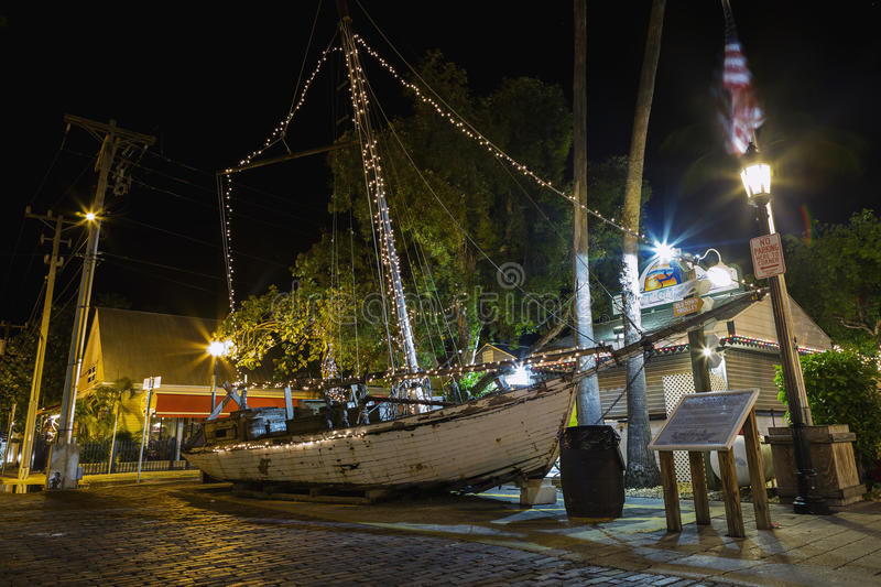 KEY WEST, FLORIDA USA - August 10, 2014: The Shipwreck Treasures. KEY WEST, FLORIDA USA - Jan 10, 2016: The Shipwreck Treasures Museum in night in downtown Key royalty free stock image