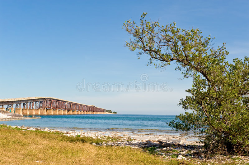 Key West island bridge. Scenic view of old highway bridge to Key West island, straits of Florida, U.S.A royalty free stock images