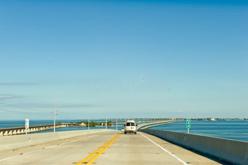 Key West overseas highway. Vehicle travelling on Key West overseas highway, Florida, Keys, U.S.A royalty free stock photo