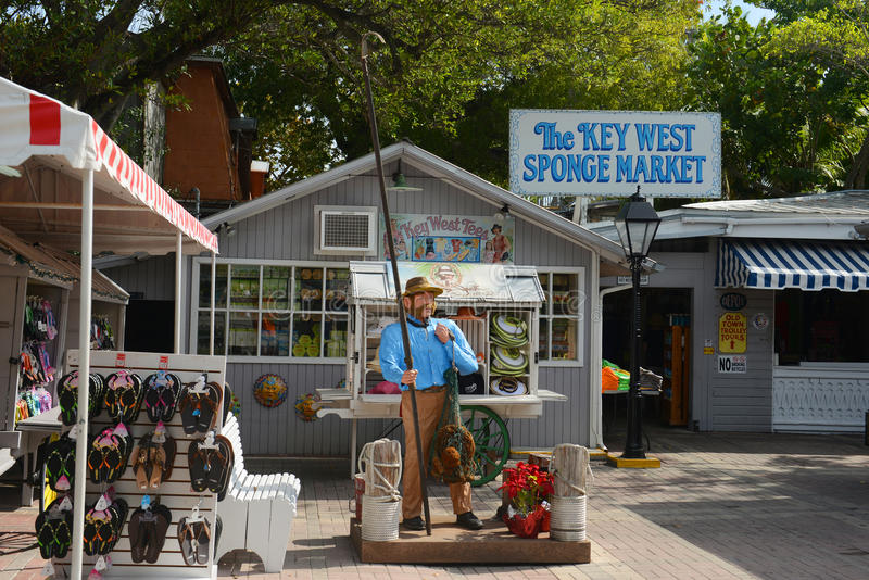 Key West pulisce il mercato con una spugna, Key West, Florida fotografia stock