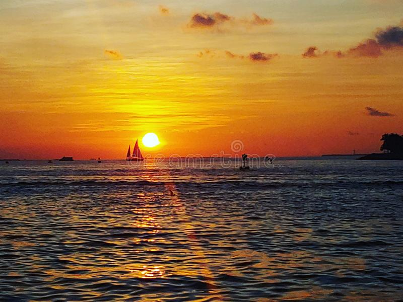 Key west sunset sail royalty free stock photos