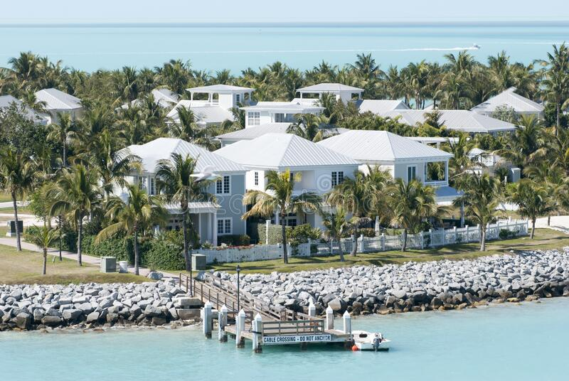 Key West Town Sunset Key Maisons images stock