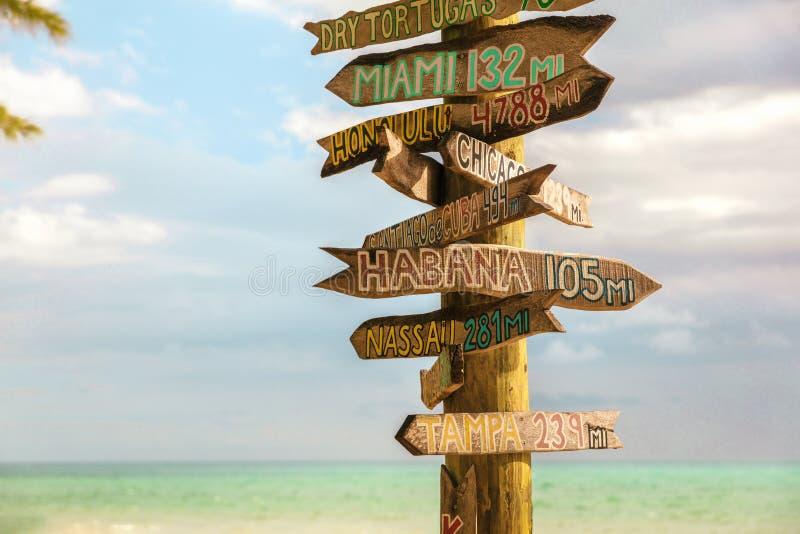Key West Zachary Beach Tourist travel sign post, Florida summer vacation background. USA stock photo