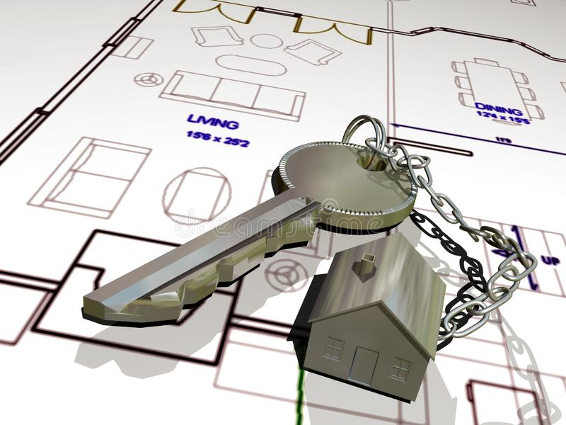 The key of your house. Metallic key attached to a metallic house, as a key chain, on the plan of a house showing its rooms vector illustration