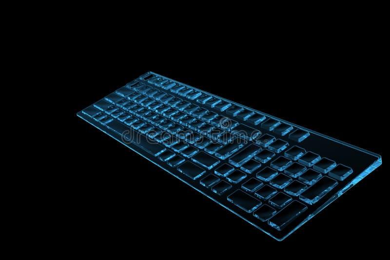 Keyboard 3D rendered xray blue. Transparent royalty free illustration