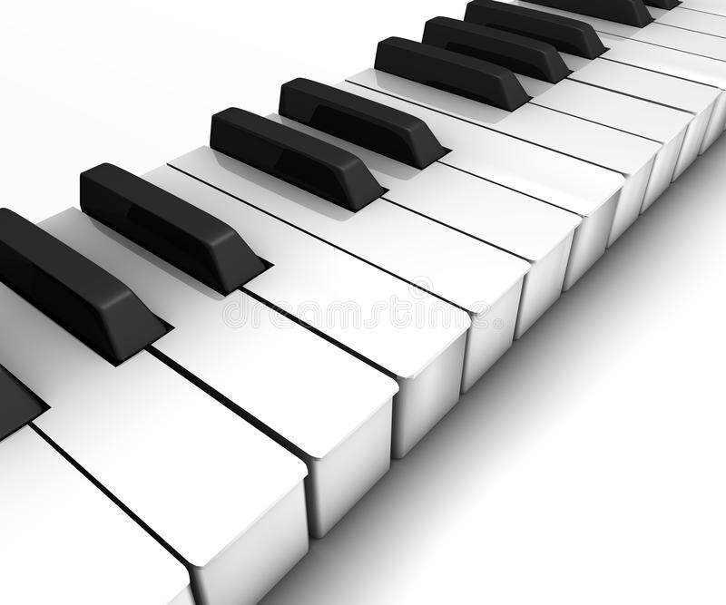 Keyboard. Piano keyboard on white background, 3d render stock illustration