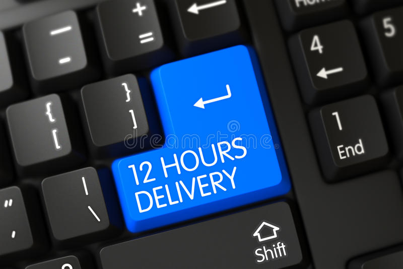 Keyboard with Blue Button - 12 Hours Delivery. 12 Hours Delivery Concept: Modernized Keyboard with 12 Hours Delivery on Blue Enter Button Background, Selected stock image