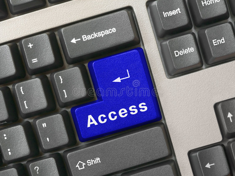 Keyboard - blue key Access stock photo