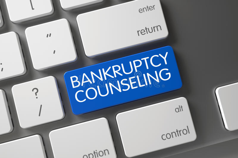 Keyboard with Blue Key - Bankruptcy Counseling. 3D. Bankruptcy Counseling Concept Modernized Keyboard with Bankruptcy Counseling on Blue Enter Button Background stock images