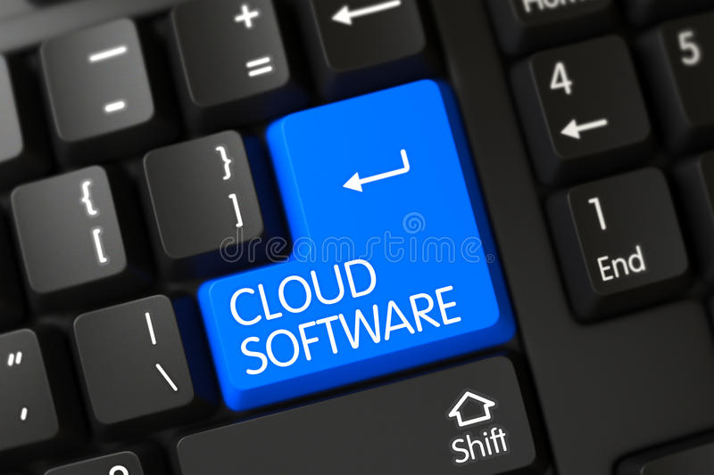Keyboard with Blue Key - Cloud Software. 3D. Concepts of Cloud Software on Blue Enter Key on Modern Keyboard. 3D Render royalty free stock image