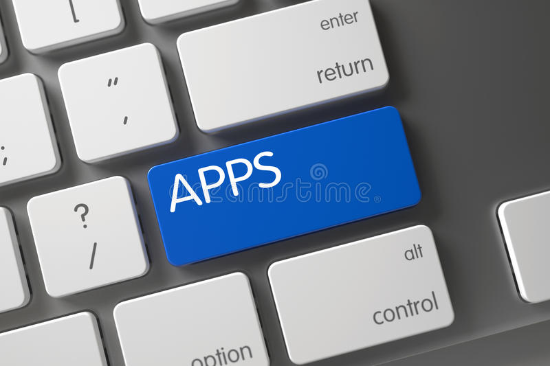 Keyboard with Blue Keypad - Apps. 3D. royalty free stock image