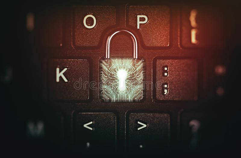 Concept of network security, virus protection, data protection. Keyboard button is like a closed lock. Concept of network security, virus protection, data stock image