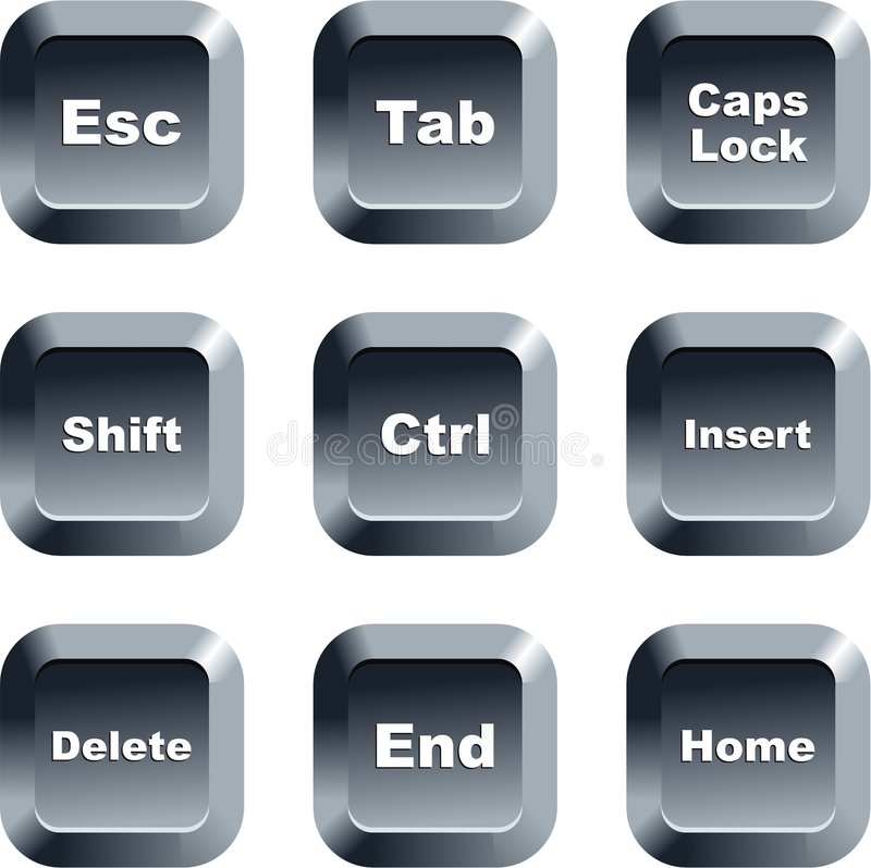 Keyboard buttons. Collection of keyboard message buttons isolated on white stock illustration
