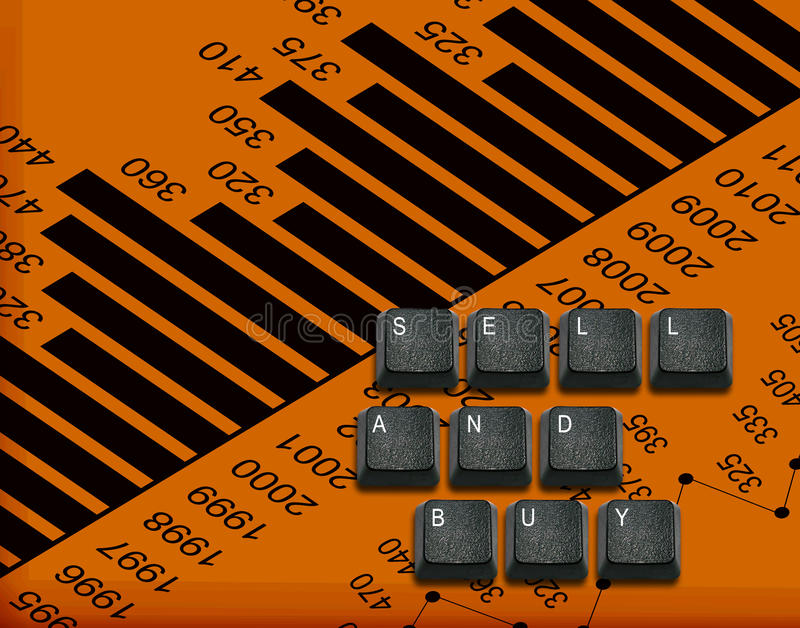 Keyboard buttons Idea. Word sell and buy Made From Computer Keyboard Keys, keyboard buttons with ideas stock illustration